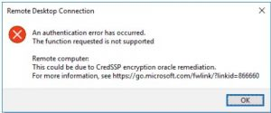 An authentication error has occurred the function is not supported this could be due to credssp