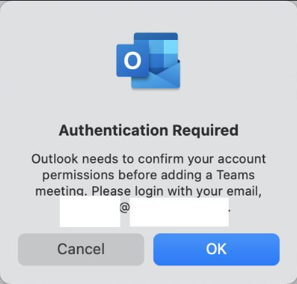 outlook needs to confirm your account permissions before adding a teams meeting