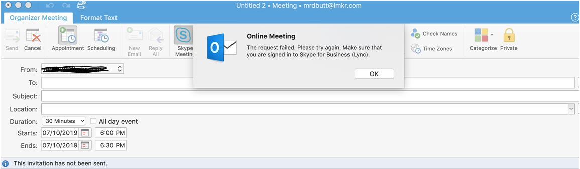 Creating Skype Meeting please make sure that Skype for Business is running and signed in